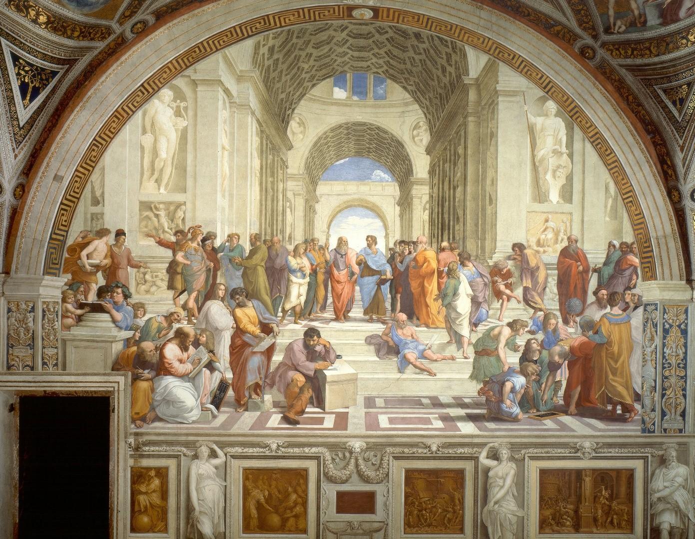 """Успоредните прави, които се пресичат в безкрайността зад гърба на Платон, """"Школата на Атина"""", от Рафаело Санцио."""