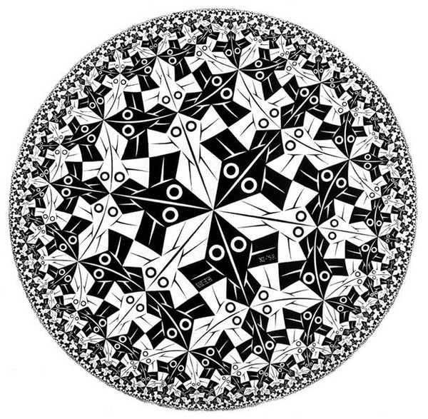 Границата на кръга от Ешер, изобразяваща диска на Поанкаре – модел на хиперболичната геометрия на Лобачевски. Границата на кръга е безкрайността. Правите линии тук са диаметрите и всички дъги, перпендикулярни на тази граница (окръжността).