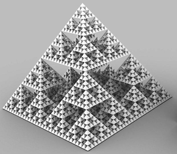 Фигура 1. Пирамида, съставена от пирамиди, съставени от пирамиди… до безкрайност. Фракталната физическа картина на света.